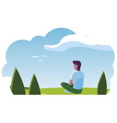 Man contemplating horizon in field scene vector