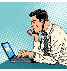Man working laptop vector