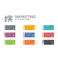 Marketing infographic 10 option line concept call vector