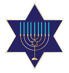 Menorah graphic on blue star vector