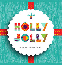 Merry Christmas happy card design in fun colors vector