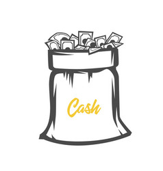 Money bag black and white objects vector