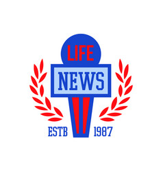 news logo estb 1987 live news retro badge vector image