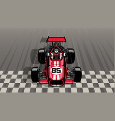 old vintage formula car driving fast passing the vector image