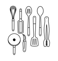 Outline cooking utensils vector