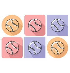 outlined icon of baseball with parallel and not vector image