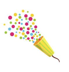 Party cracker colorful festive shooting confetti vector