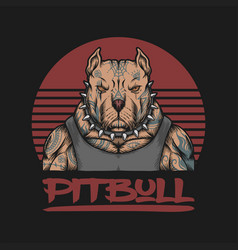pitbull gangster tattoo vector image