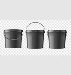 Realistic 3d black plastic bucket for food vector