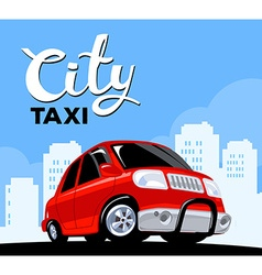 red taxi car on black road in big white c vector image
