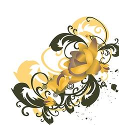 roses leaves border corner stylized flowers vector image