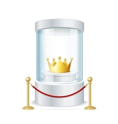 Round Glass Showcase with Crown and Rope Barrier vector image