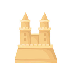 Sandcastle with two towers big sand fortress vector