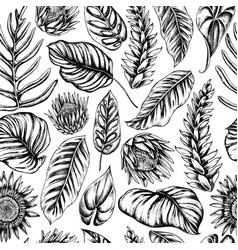Seamless pattern of palm leaves and vector