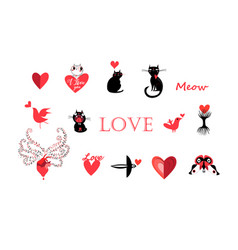 set animals and objects icons for valentines vector image