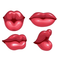 Set female lips kiss vector