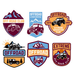 set four off-road suv car emblems extreme vector image