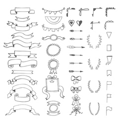 set hand drawn decorative elements wedding vector image