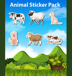 set of animal sticker pack vector image