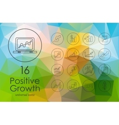 Set positive growth icons vector