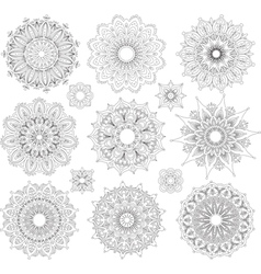 set round ornament patterns vector image