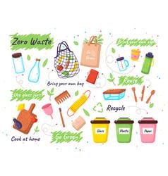 set zero waste elements zero waste doodles vector image