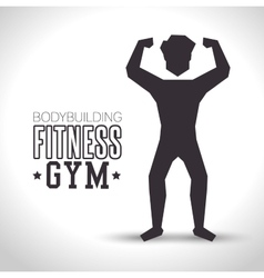 Silhouette man bodybuilding fitness gym icon vector