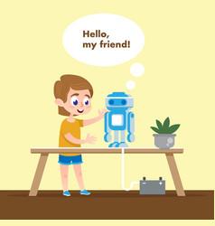 Smart kid with talking robot model flat cartoon vector