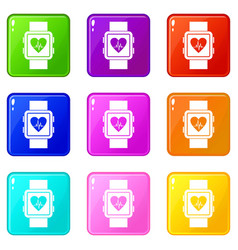 smartwatch icons 9 set vector image