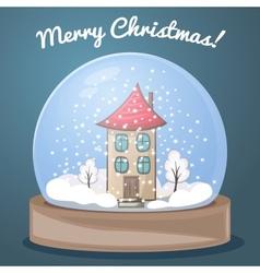 Snow globe with a house vector