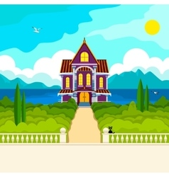 Southern landscape and house vector image
