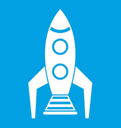 Space rocket icon white vector