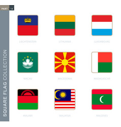 Square flags collection world vector