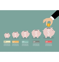 Step of business hand insert coin into the piggy vector image
