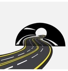 The road in the future passes through the tunnel vector