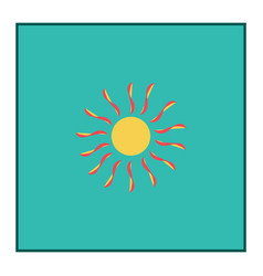 The sun sign in blue square vector