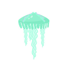 tropical ocean green jellyfish stay on high wave vector image