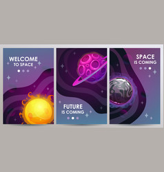vertical space banners set cosmic vector image