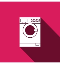 Washing machine icon with long shadow vector