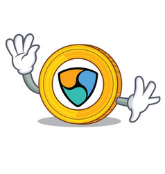 waving nem coin character cartoon vector image