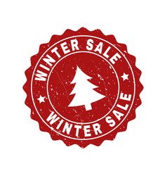 Winter sale grunge stamp seal with fir-tree vector