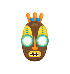 wooden oval shaped african mask with large round vector image