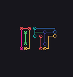 wordmark letter it technology circuit logo vector image