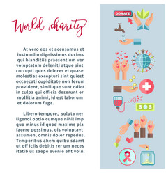 World charity money and blood donation fund and vector