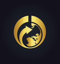 world earth arrow gold logo vector image