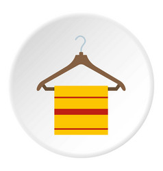 Yellow scarf on wooden coat hanger icon circle vector