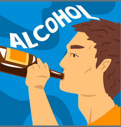 Young man with addiction to alcoholic drink vector