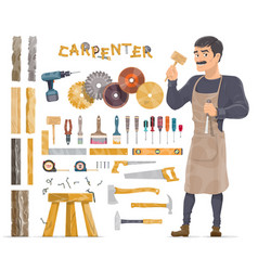 carpenter elements collection vector image vector image