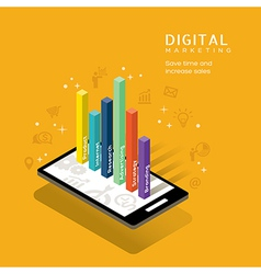 digital marketing media graph on smartphone vector image vector image