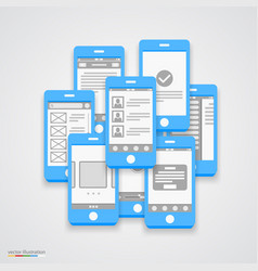 flat phone screen collage vector image vector image